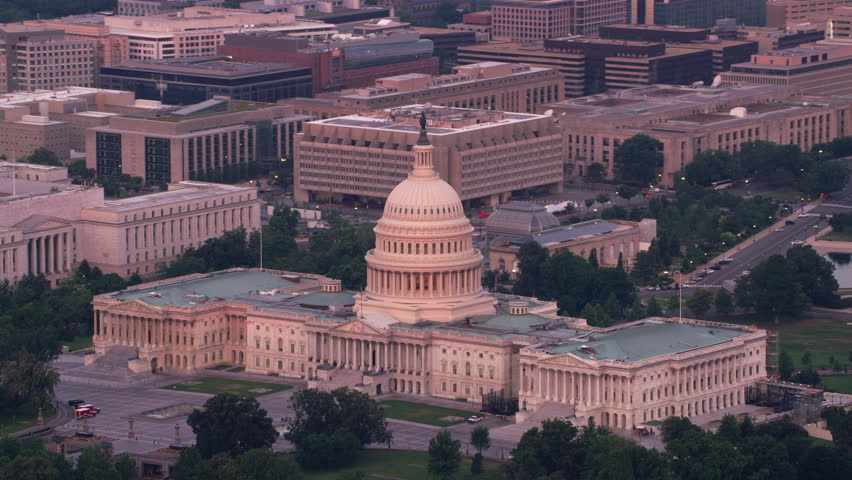 Washington, D.C. circa-2017, Aerial view of the Capitol Building in early morning light. Shot with Cineflex and RED Epic-W Helium.