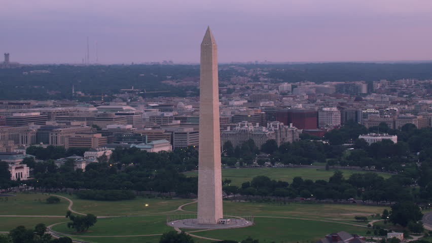 Washington, D.C. circa-2017, Aerial view of the Washington Monument and White House. Shot with Cineflex and RED Epic-W Helium.