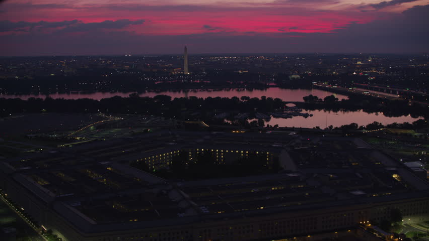 Washington, D.C. circa-2017, Early morning aerial view of Pentagon with Potomac River and city in distance. Shot with Cineflex and RED Epic-W Helium.