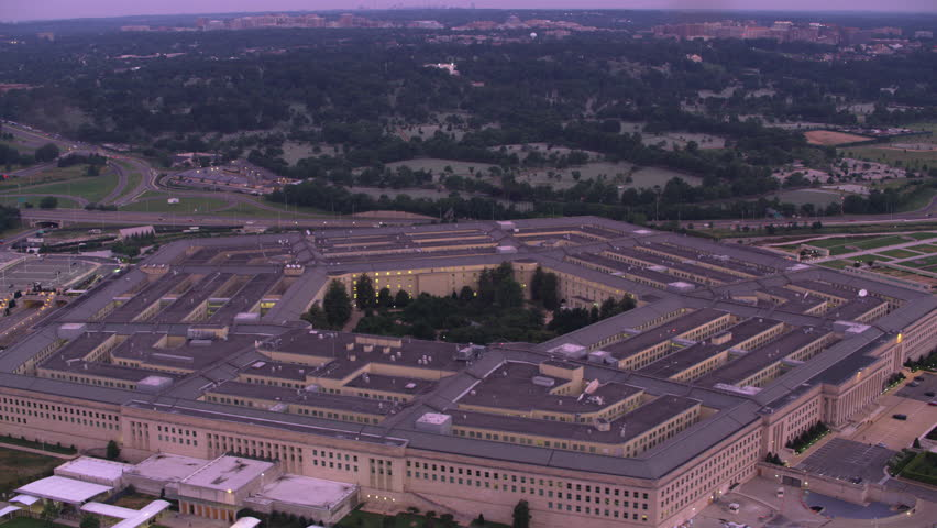 Washington, D.C. circa-2017, Aerial view of Pentagon at sunrise. Shot with Cineflex and RED Epic-W Helium.