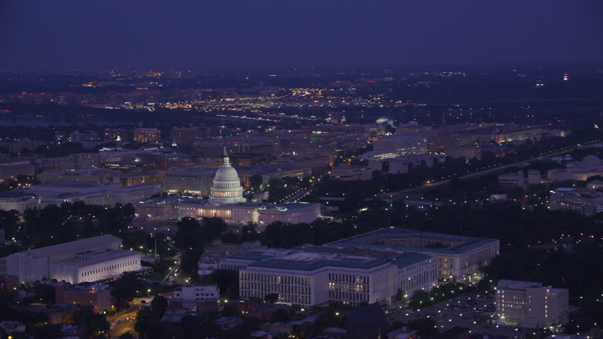 Washington, D.C. circa-2017, Aerial view of the Lincoln Memorial, Washington Monument and Capitol Building at dawn. Shot with Cineflex and RED Epic-W Helium.