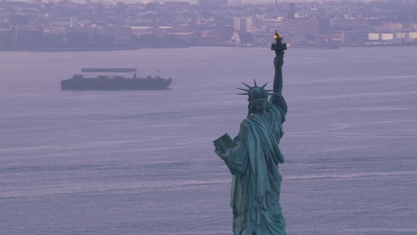 New York City circa-2017, Statue of Liberty on beautiful cloudy morning. Shot with Cineflex and RED Epic-W Helium. | Shutterstock HD Video #28499767