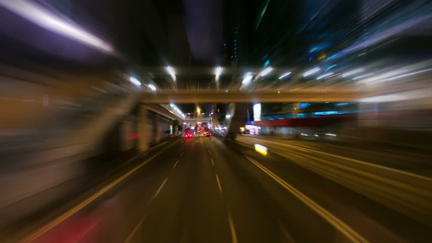 HONG KONG - SEPTEMBER 3, 2012: Bus ride on busy street in the centre of Hong Kong, timelapse.  | Shutterstock HD Video #2850079