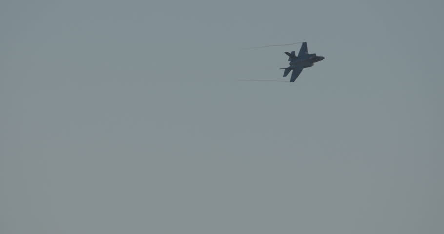 Israeli Air force stealth fighter flying and maneuvering during an airshow    Shutterstock HD Video #28513573