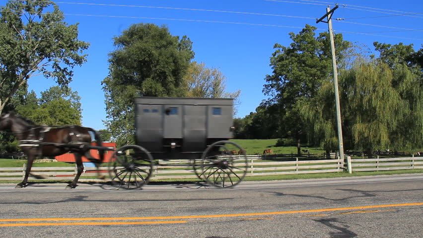 Amish Indiana 1. Two black Amish horse pulled buggies pass by down a highway in picturesque rural Indiana.