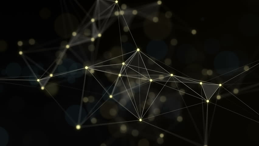 Plexus of abstract lines, triangles and dots. Gold background. Loop animations. Royalty-Free Stock Footage #28557487
