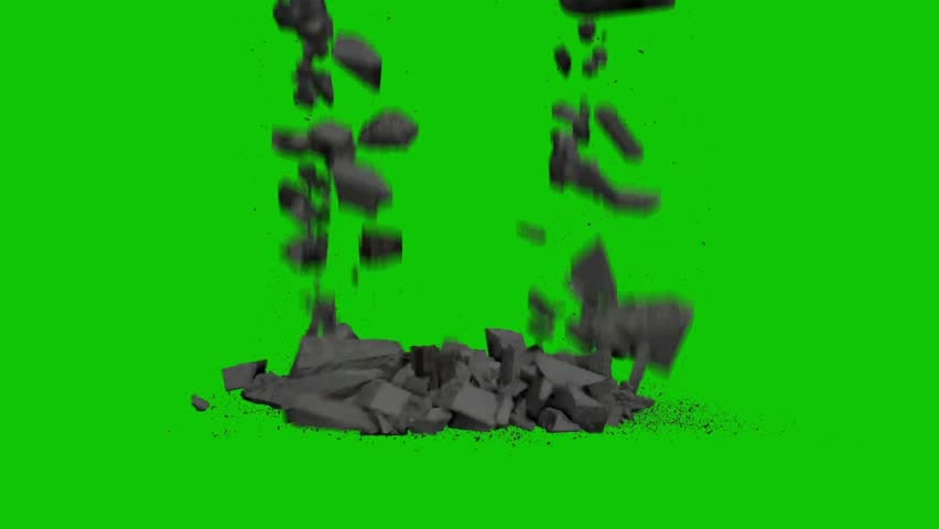 Destruction Falling Rocks Debris Green Screen 3D Rendering Animation VFX