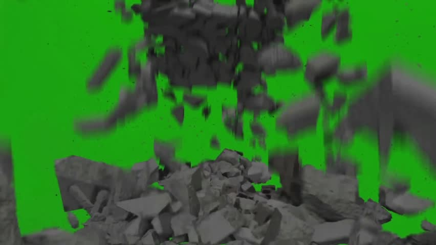 Destruction Falling Rocks Debris Close up Green Screen 3D Rendering Animation VFX
