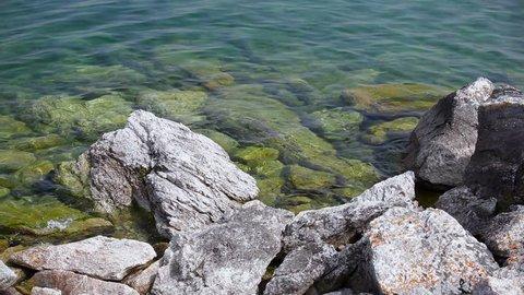 Nature of Lake Baikal. Stones on the shore of the lake
