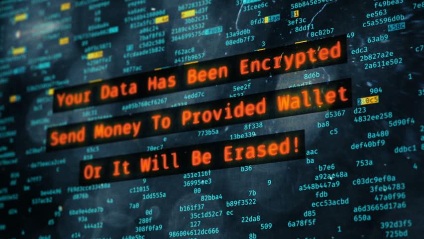 Hackers encrypting computer data, warning message on screen, virus spreading. Petya ransomware attack, data encryption, information theft, computer hacking