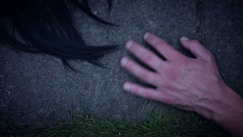4k Horror Shaking Hand with Black Hairs in reverse   Shutterstock HD Video #28575526