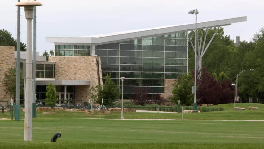 Exterior Shot of a University Recreation Center featuring a Climbing Wall Royalty-Free Stock Footage #28575625