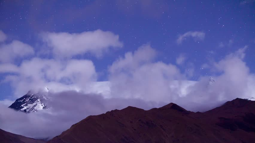 Time lapse over El Altar volcano in Ecuador by night. Clouds are moving away to reveal one of the most beautiful mountain in south America and the most technically demanding climbing experience.