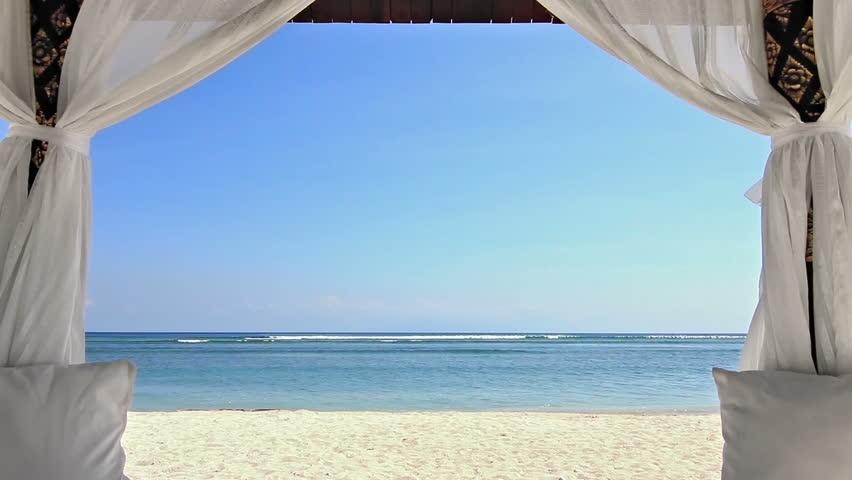 Gazebo On The Beach Zoom Stock Footage Video 100 Royalty