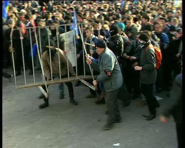 KIEV, UKRAINE - MARCH 9: Nationalist protestors clash with police on March 9, 2011 in Kiev, Ukraine.