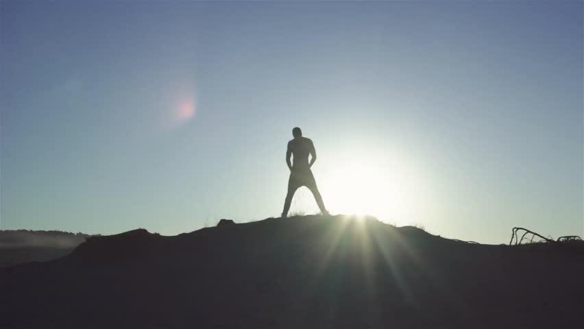 Man`s Silhouette at sunset | Shutterstock HD Video #28602313