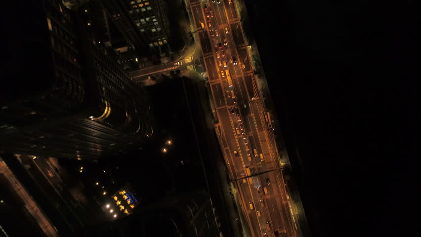 Japan Tokyo Aerial v51 Vertical view flying low over highway at night
