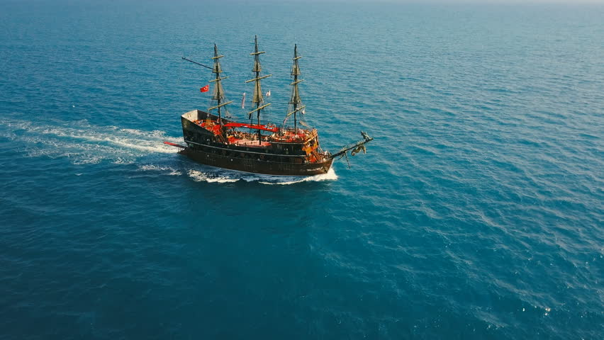 Aerial view of the party boat sailing ship at sea