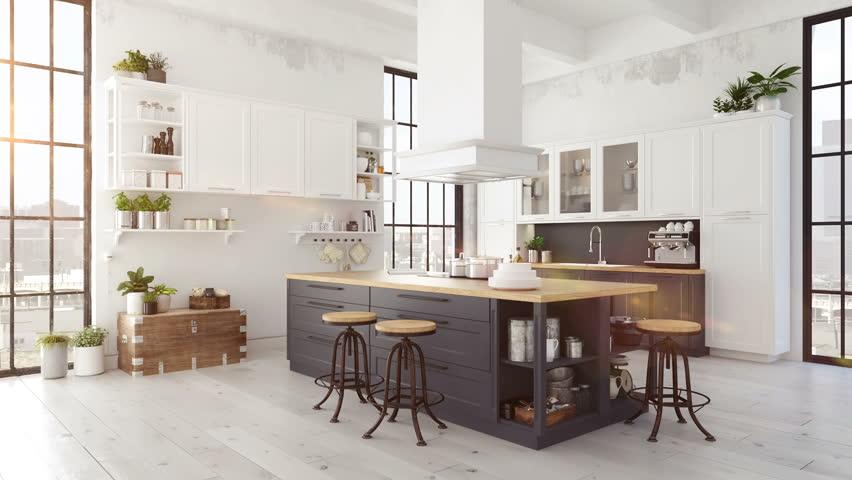 Modern nordic kitchen in loft apartment. 3D rendering | Shutterstock HD Video #28612933
