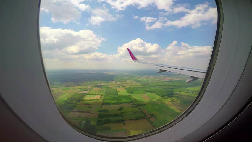 View out of airplane window, WIZZAIR airline , 26 May 2017, Hungary #28620463