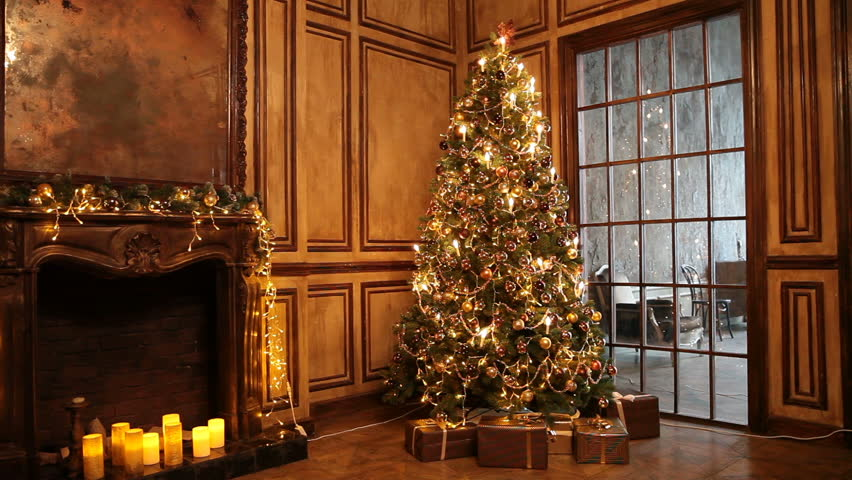 New year tree decorated with lights, christmas interior background