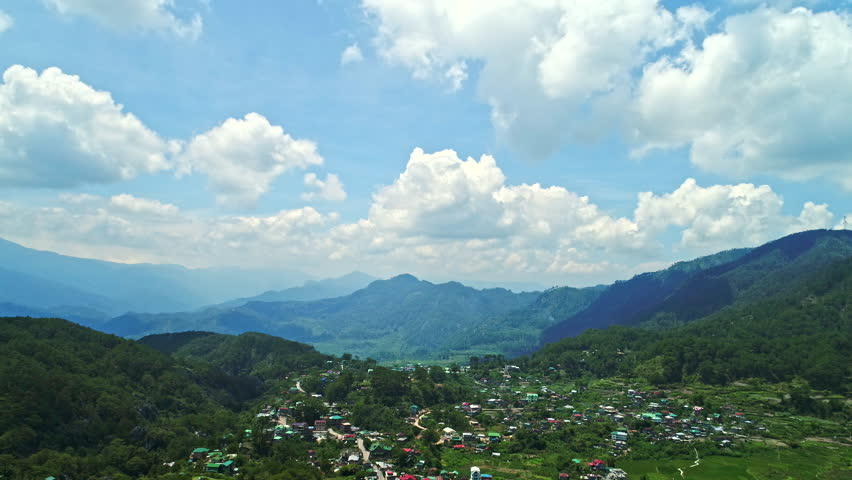 Sagada, Philippines - May 1, 2017: Sagada Aerial view showing remote northern town and mountainous countryside | Shutterstock HD Video #28645375