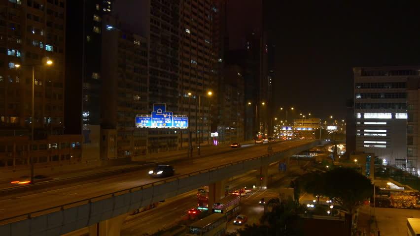 Night illumination hong kong city traffic street road junction panorama 4k china   Shutterstock HD Video #28671382