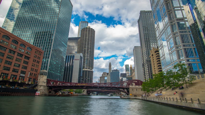 Chicago River Time Lapse Skyline 4K 1080P - Time lapse of chicago river with buildings, clouds and skyline illinois