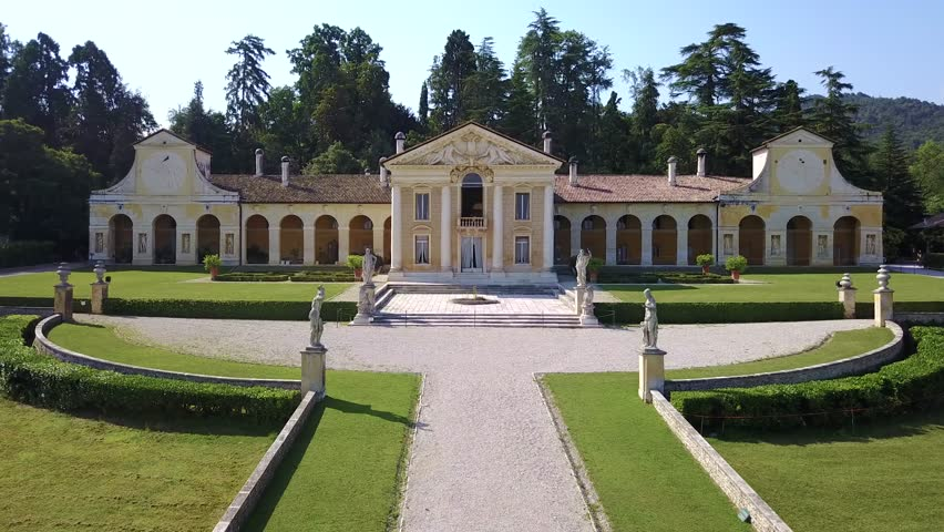 Drone view of Villa Barbaro in Maser - one of the most important Palladian Villas with Paolo Veronese frescoes