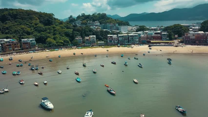4K Aerial view footage of Peng Chau Island, Hong Kong   Shutterstock HD Video #28683718