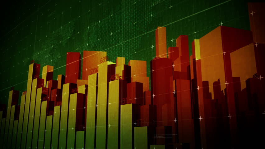 Growing Big City Bars and charts.Growing business infographic stock market charts.Good for financial news report.Stock market intro and business presentation.Growing buildings.Green Yellow Red.Type 3 | Shutterstock HD Video #28685887