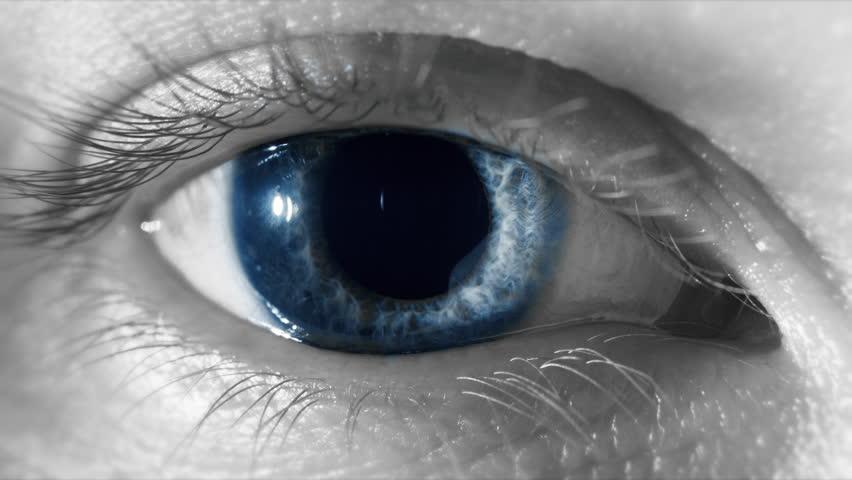 Macro Of Blue Eye As Pupil Contracts Retina Dilates Close Up As Eyelid Blinks Waking Up Consciousness Spiritual Awakening Concept