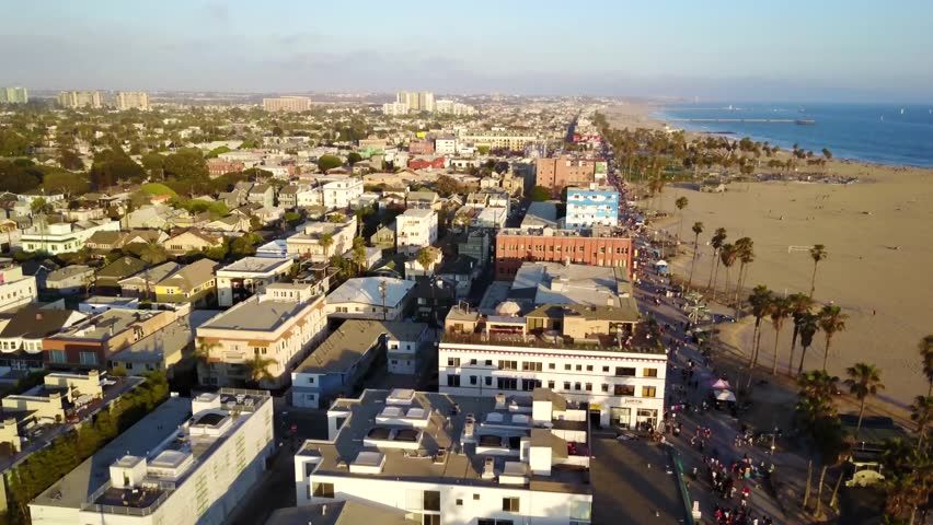 Venice Beach, California sunset ocean coast landscape aerial views