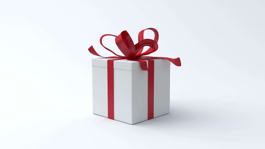 White gift box with red ribbon opening. Include alpha channel and color channel to key individual elements and tracking | Shutterstock HD Video #2871475