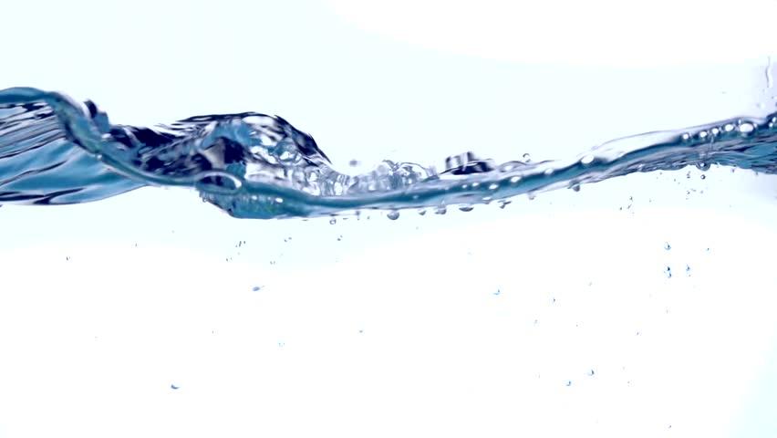 Water surface wave, water waves splash. Waving and Splashing fresh water close up. Underwater. 4K video footage, slow motion 240 fps, 3840X2160 #28717408