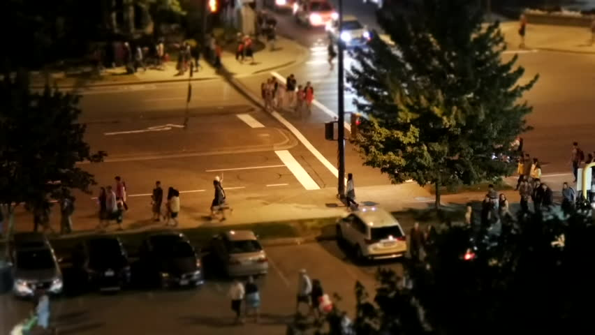 Coquitlam, BC, Canada - July 01, 2017 : Motion of traffic flow after celebrating Canada day at night with miniature effect