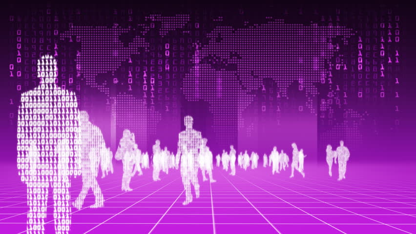 Silhouettes of binary people with map of earth in the background behind - HD720 progressive.