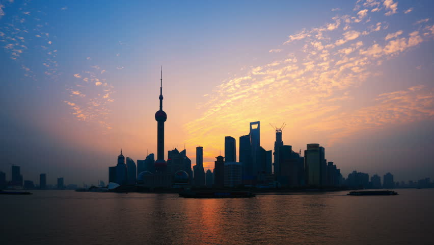 """Shanghai Sunrise Time Lapse(Zoom In).    ( Please search more: """" ShanghaiSkyline """" )"""