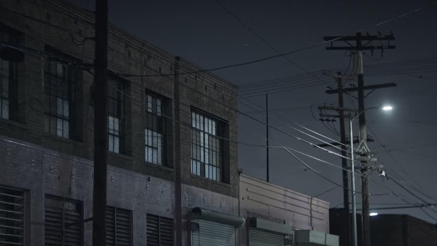 Warehouse exterior at night