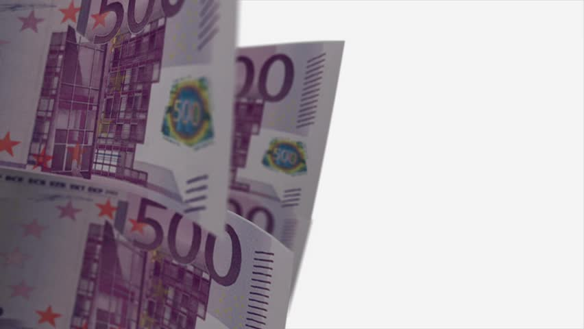 Cyclical 500 euro cash account on a white background with alpha channel, shallow depth of field | Shutterstock HD Video #2875885