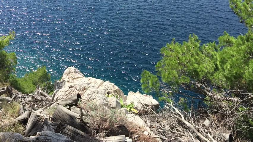 Beautiful view of deep blue sea water sparkling in the bright sun light at Croatian resort in Makarska.Fantastic place for summer vacation travel.Enjoy nature & fresh air.Crystal clear Adriatic Sea Royalty-Free Stock Footage #28765552
