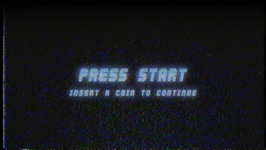 PRESS START INSERT A COIN TO CONTINUE RETRO VHS TV SCREEN / PRESS START RETRO VHS / A retro VHS Screen featuring  Press Start Insert a coin to continue text