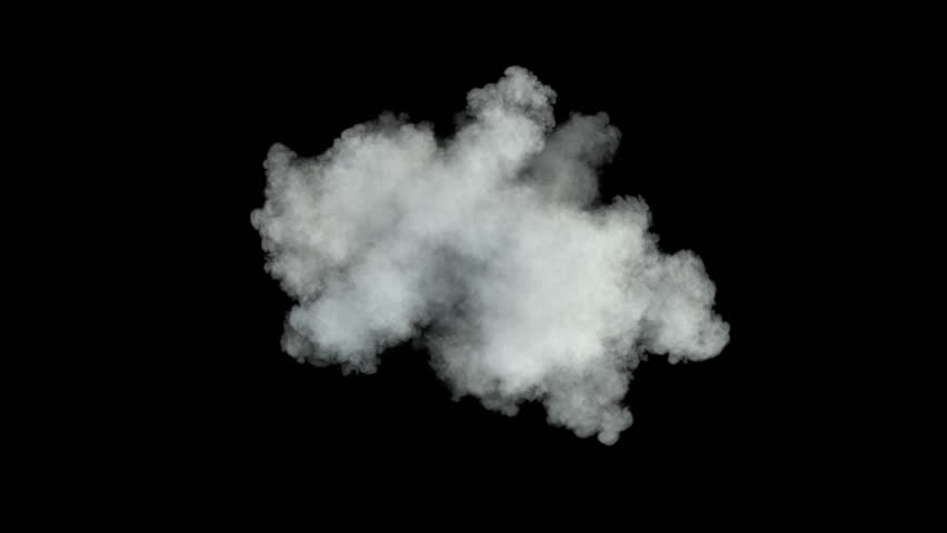 Middle size smoke puff / dust puff. Smoke density - low. Separated on pure black background, contains alpha channel.