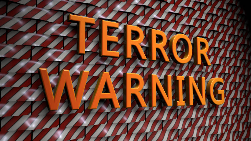 """Wall of rounded Plates with the Text """"Terror Warning"""", with a Camera Move from the Side to a Front View. The Plates are in Red-White and the Text is in Yellow (3D Rendering)   Shutterstock HD Video #28775965"""