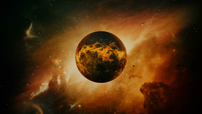 Old dying planet in colorful space with large lava explosions. Apocalypse and Ecological concept. | Shutterstock HD Video #28786600