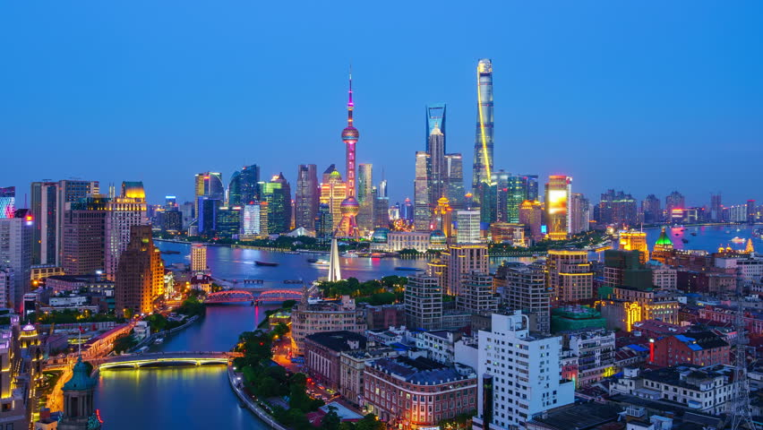 "Shanghai skyline and Huang-pu River viewed from skyscraper. Zoom in Time lapse. - Original Size 4k (4096x2304). - >>> Please search similar: "" ShanghaiSkyline "" .  