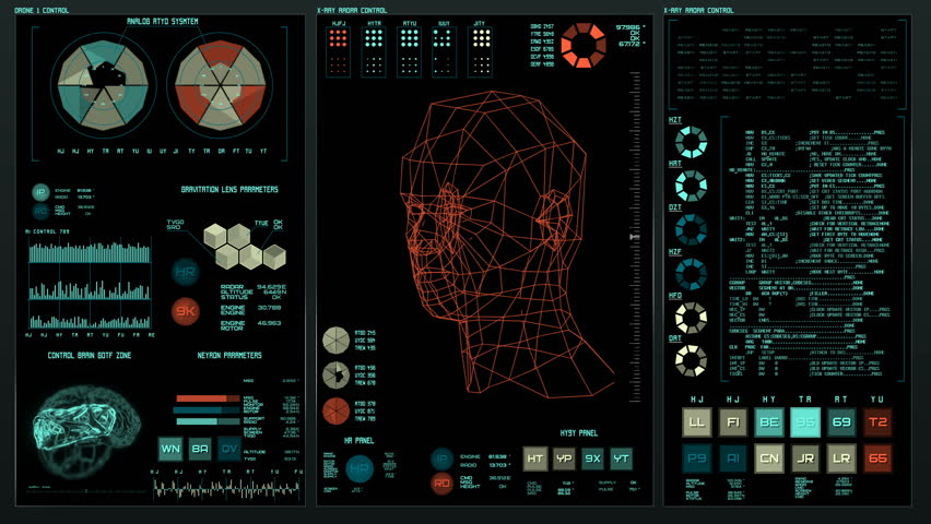 Ultra detailed abstract digital background. Blinking and switching indicators and statuses showing work of command center, processing big data, machine deep learning. Facial recognition sysytem,