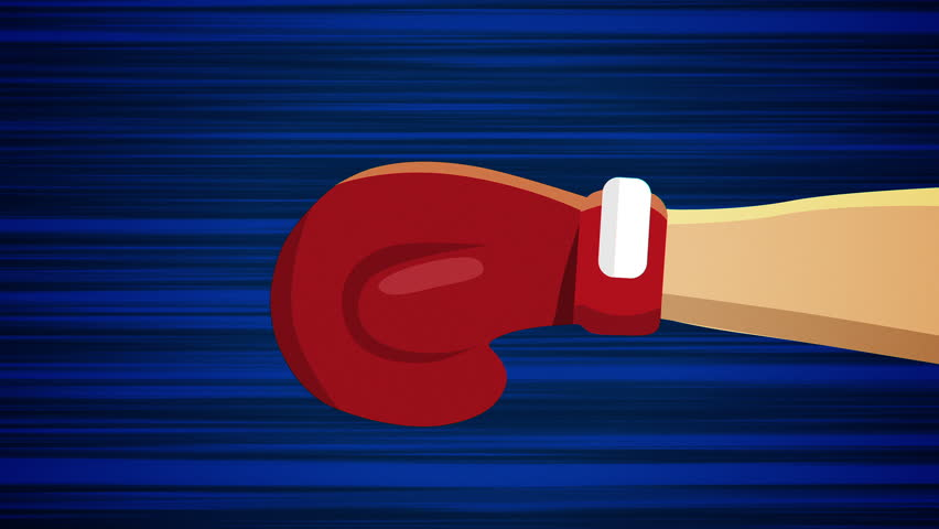 Flying boxing glove on blue background. Animation of flying object. Different versions in my portfolio: red and blue background, another angle and central object. Looped animation