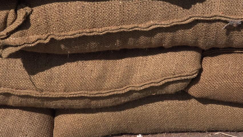 Background sandbags close up movement 4K