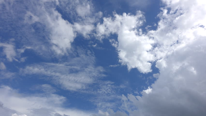 Time Lapse, motion white, gray, puffy clouds on the background blue sky | Shutterstock HD Video #28822255